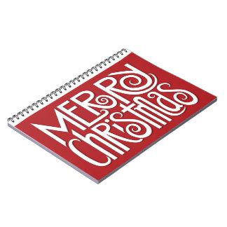 Weiß 2 der frohen Weihnachten Notizbuch Notizblock