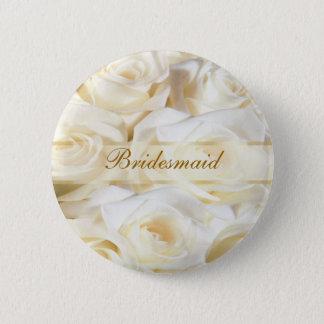 Weiß-Creme Rosen, die Brautjungfern-Knopf Wedding Runder Button 5,7 Cm