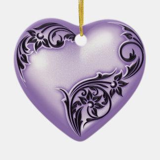 Weiß der Herz-Rolle-Flieder-w Keramik Herz-Ornament