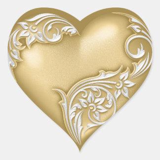 Weiß des Herz-Rolle-Goldw Herz-Aufkleber