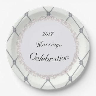 Weiß-Diamant-Silber-Seil-Hochzeit (c) SCHABLONE Pappteller