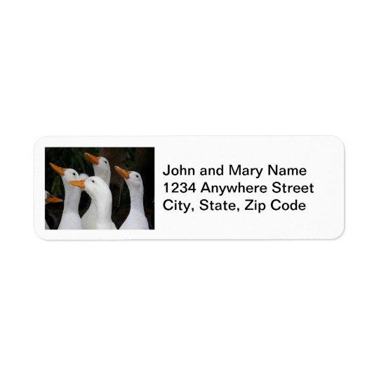 Weiß duckt Foto-Rücksendeadressen-Aufkleber Kleiner Adressaufkleber