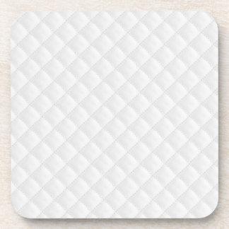 Weiß gestepptes Leder Getränkeuntersetzer