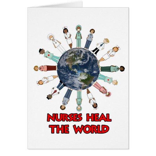 Weiß mit blauer und roter Weltkrankenschwester Mitteilungskarte