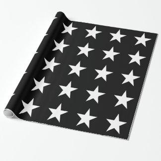 Weiß-Sterne auf Schwarzem Geschenkpapier