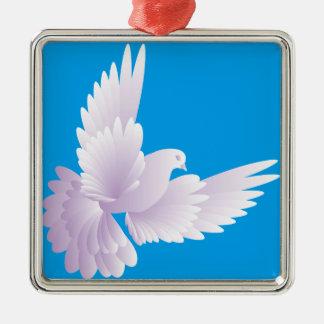 Weiß tauchte in blauem Himmel 3 Quadratisches Silberfarbenes Ornament