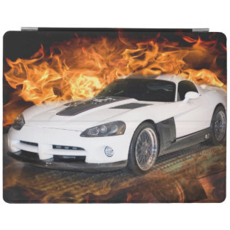 Weiß trägt Autorennen durch Flammen zur Schau iPad Hülle