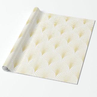 Weiß u. Goldc$kunst-Deko nahtloses Muster Geschenkpapierrolle