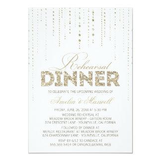 Weiß u. GoldGlitter-Blick-Proben-Abendessen laden 12,7 X 17,8 Cm Einladungskarte