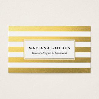Weiß und Goldfolien-Streifen-Visitenkarte Visitenkarte