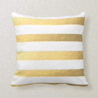 Weiß und Goldgestreiftes Kissen