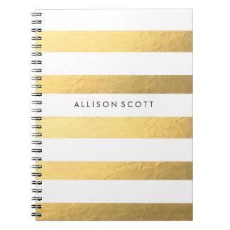 Weiß und Goldpersonalisiertes Notizbuch Spiral Notizblock