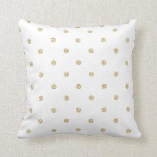 Weiß und GoldTupfen-Muster Kissen