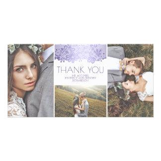 Weiß und Lavendel-Spitze-Hochzeit danken Ihnen Karte