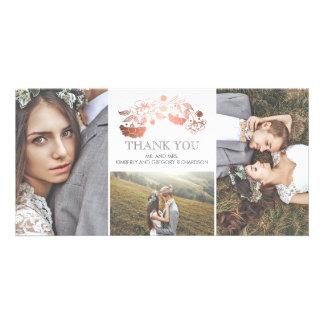 Weiß-und Rosen-Goldblumenhochzeit danken Ihnen Karte