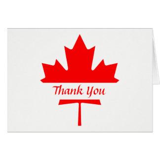 Weiß und Rotahorn-Blatt danken Ihnen Mitteilungskarte