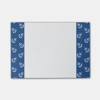 Weiße Anker-klassisches blaues Hintergrund-Muster Post-it Klebezettel