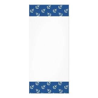 Weiße Anker-klassisches blaues Hintergrund-Muster Werbekarte