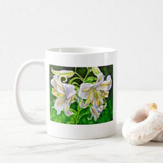 Weiße asiatische Lilien-Tasse Kaffeetasse