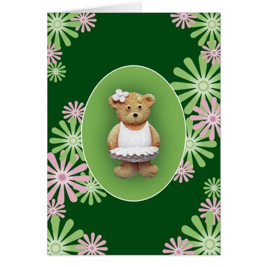 Weiße Ballett-Tänzer-Teddybär-Gruß-Karte Grußkarte