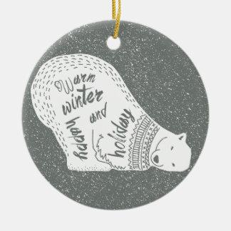 Weiße Bären wärmen glücklichen Feiertag des Keramik Ornament