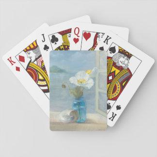 Weiße Blume, die das Meer übersieht Spielkarten