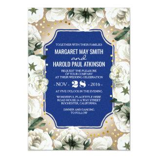 Weiße Blumen-GoldConfettiwreath-Marine-Hochzeit 12,7 X 17,8 Cm Einladungskarte