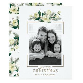 Weiße Blumen- und Kiefern-Foto-Weihnachtskarte Karte