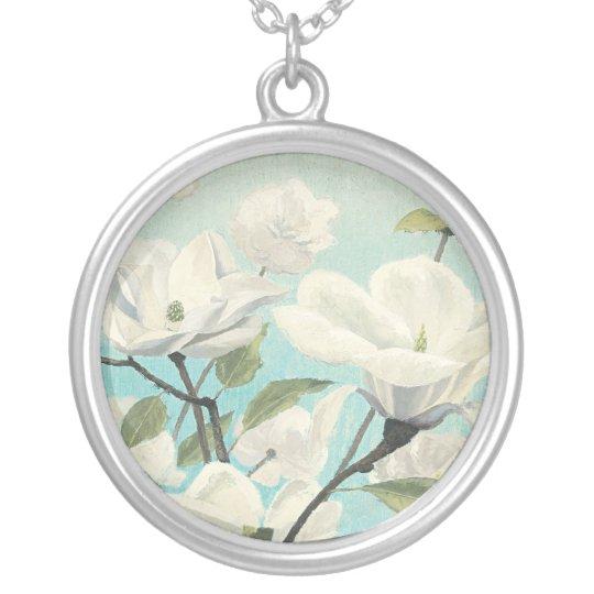 Weiße Blüten vom Süden Halskette Mit Rundem Anhänger