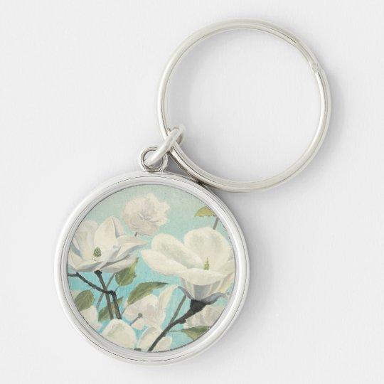 Weiße Blüten vom Süden Silberfarbener Runder Schlüsselanhänger