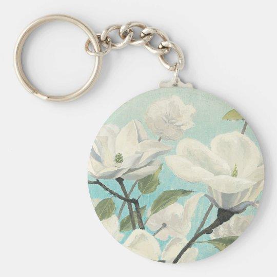Weiße Blüten vom Süden Standard Runder Schlüsselanhänger