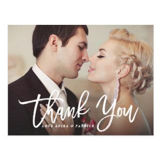 Weiße Bürsten-Kalligraphie-Skript-Hochzeit danken Postkarte