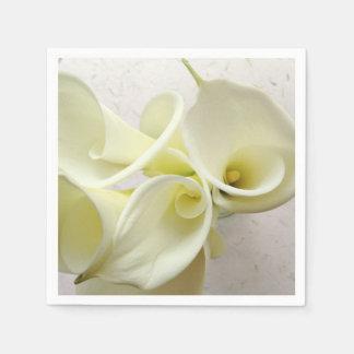 Weiße Callalilien von oben Papierservietten