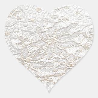 Weiße Chantilly-Spitze Herz-Aufkleber