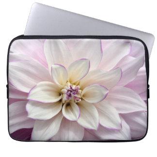 Weiße Dahlie-Blumen-Laptophülse Laptopschutzhülle