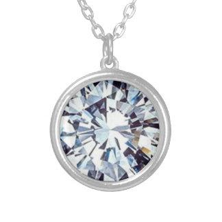 Weiße Diamanten Versilberte Kette