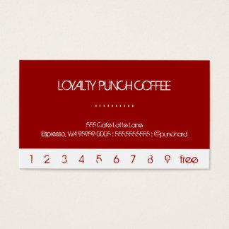 Weiße Durchschlags-Loyalitäts-Kaffee-Karte Visitenkarten