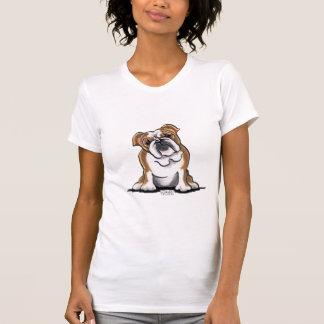 Weiße englische Bulldogge Browns n sitzen hübsches T-Shirt