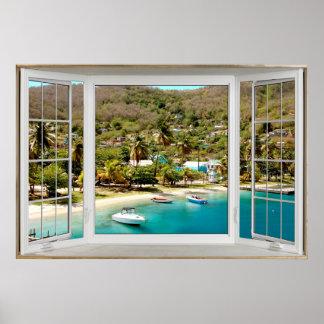 Weiße Erkerfenster-Illusion Karibisches Meer Poster