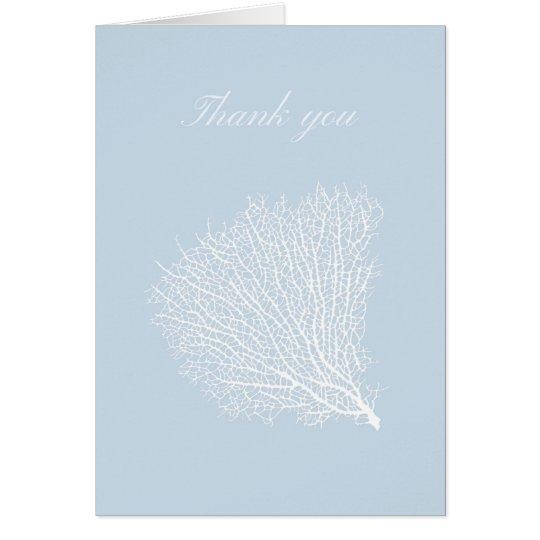 Weiße Fankoralle danken Ihnen zu kardieren Karte