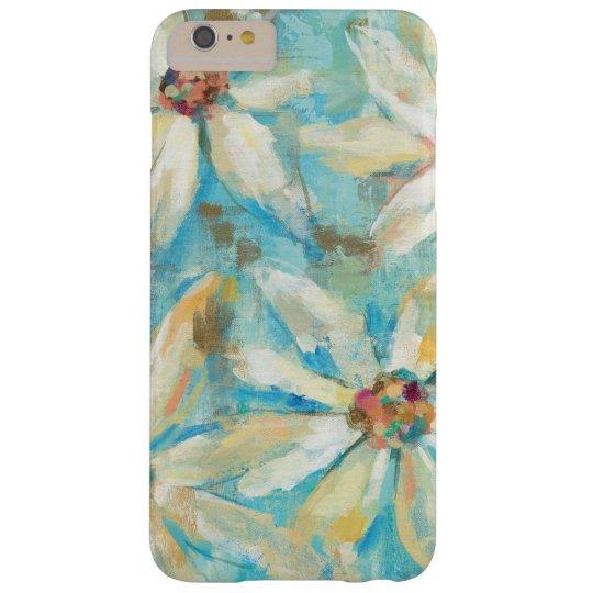 Weiße Gänseblümchen auf Blau Barely There iPhone 6 Plus Hülle