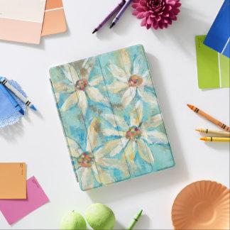 Weiße Gänseblümchen auf Blau iPad Hülle