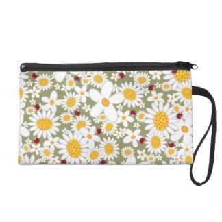 Weiße Gänseblümchen-Blumen-rote Wristlet Handtasche