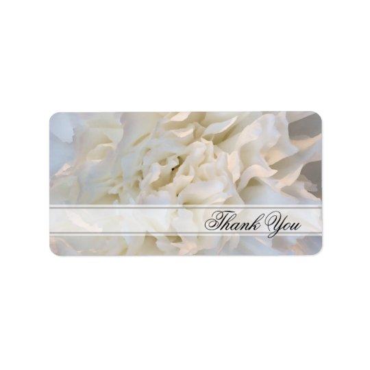 Weiße Gartennelken-Blumenhochzeit danken Ihnen, Adressaufkleber