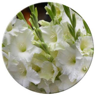 Weiße gladiola Blumen Porzellanteller