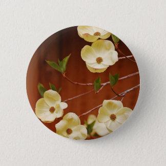 Weiße Hartriegel-Blumen Runder Button 5,1 Cm