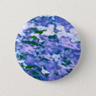 Weiße Hartriegel-Blüte im Blau Runder Button 5,1 Cm