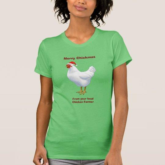 Weiße Henne in der Weihnachtsmannmütze fröhliches T-Shirt