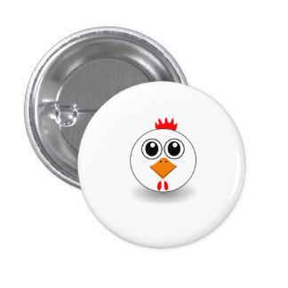 Weiße Henne Runder Button 3,2 Cm