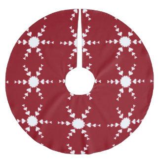 Weiße Herz-Schneeflocken auf rotem Polyester Weihnachtsbaumdecke